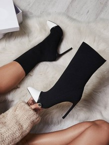 White Point Toe Stiletto Patchwork Fashion Ankle Boots