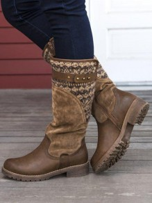 Brown Round Toe Chunky Patchwork Fashion Mid-Calf Boots
