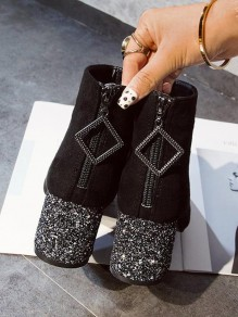 Black Square Toe Chunky Zipper Sequin Fashion Ankle Boots