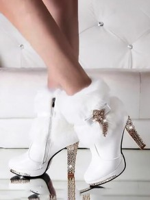 White Round Toe Chunky Sequin Rhinestone Bow Tassel Sparkly Faux Fur Fashion Ankle Boots