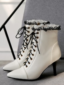 White Point Toe Stiletto Lace PU Leather Fashion Ankle Boots