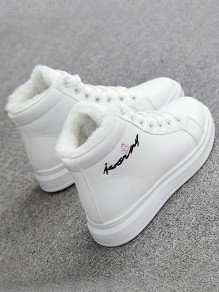 White Round Toe Flat Embroidery Print Casual Fashion Shoes