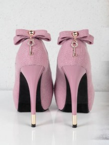 Pink Round Toe Stiletto Bow Sequin Rhinestone Formal Fashion High-Heeled Shoes