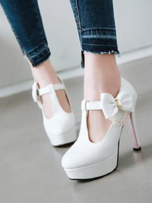 White Round Toe Chunky Bow Sweet Fashion High-Heeled Shoes