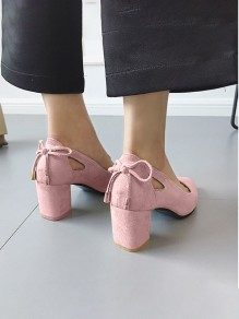 Pink Point Toe Chunky Suede Bow Formal Sweet Prom High-Heeled Shoes