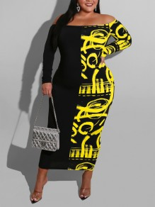 Yellow Letter Off Shoulder Bodycon Long Sleeve Party Maxi Dress