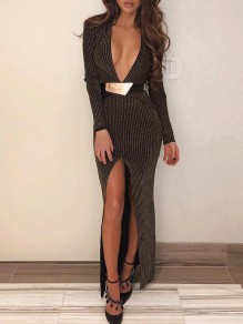 Brown Striped V-neck Thigh High Side Slits Bodycon Mermaid Prom Evening Party Maxi Dress