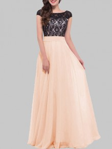 Apricot Patchwork Lace Lace-up Round Neck Short Sleeve Prom Evening Party Elegant Maxi Dress