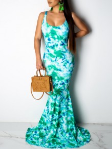 Blue Tie Dyeing Spaghetti Strap Backless Bodycon Mermaid Prom Evening Party Maxi Dress