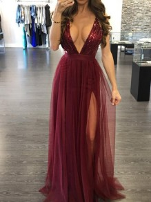Burgundy Patchwork Sequin Backless Layers Of Grenadine Spaghetti Strap Party Maxi Dress