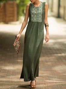 Army Green Floral Print Sleeveless Bohemian Maxi Dress