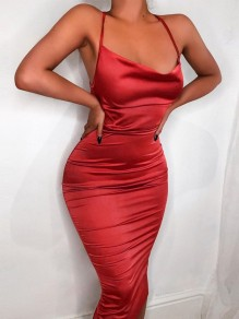 Red Satin Halter Neck Backless Cocktail Spaghetti Strap Ball Gown Prom Midi Dress