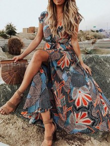 Blue Floral Print V-neck Thigh High Side Slits Going out Vacation Beach Flowy Maxi Dress