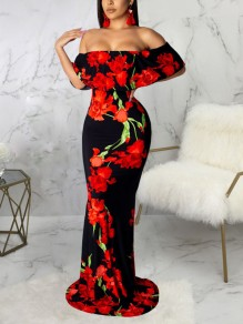 Red Black Flower Print Off Shoulder Ruffle Bodycon Mermaid Prom Evening Part Maxi Dress
