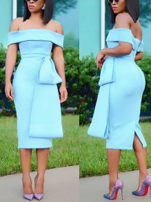 Sky Blue Off Shoulder Belt Backless Bodycon Elegant Party Maxi Dress