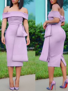 Light Purple Off Shoulder Belt Backless Bodycon Elegant Party Maxi Dress