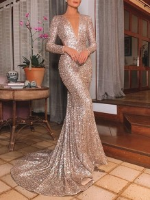 Golden Sequin Deep V-neck Backless Prom Evening Party Mermaid Red Carpet Maxi Dress