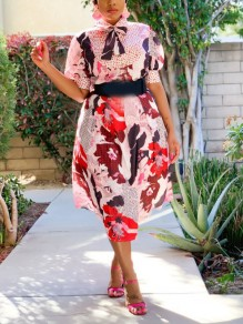 Pink Floral Pleated Bow Bohemian Party Maxi Dress