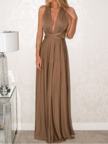 Coffee Sashes Comfy Sweet Cocktail Party V-neck Maxi Dress