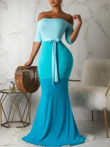 Blue Patchwork Gradient Color Sashes Off Shoulder Mermaid Banquet Prom Party Maxi Dress