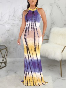 Purple Tie Dyeing Halter Neck Cut Out Bodycon Mermaid Party Maxi Dress