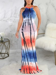 Blue Tie Dyeing Halter Neck Cut Out Bodycon Mermaid Party Maxi Dress