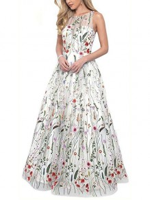 White Patchwork Grenadine Embroidery Pleated Prom Evening Party Mexican Wedding Gowns Maxi Dress