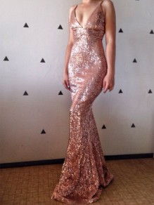 Rose Gold Sequin Fashion One Piece Cocktail Party Maxi Dress
