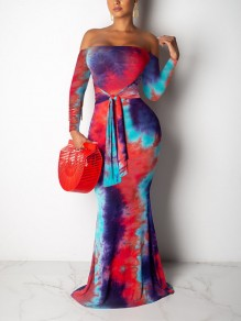 Red Tie Dyeing Off Shoulder Belt Bodycon Mermaid Party Maxi Dress
