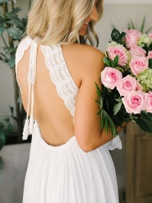 White Patchwork Lace Halter Neck Backless Deep V-neck Fashion Cocktail Party Beach Wedding Maxi Dress
