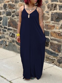 Dark Blue Spaghetti Strap Pockets V-neck Bohemian Beachwear Maxi Dress