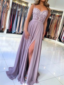 Purple Patchwork Lace Spaghetti Strap Backless Slit Draped Square Neck Fashion Bridesmaid Prom Maxi Dress