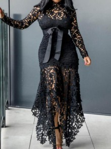 Black Patchwork Lace Irregular Cut Out Bowknot Prom Banquet Party Maxi Dress