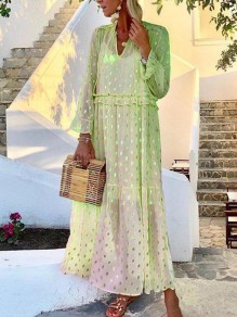 Green Polka Dot Grenadine Sequin V-neck Long Sleeve Fashion Maxi Dress