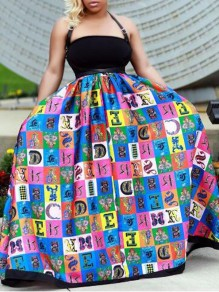Blue Monogram Print Halter Neck High Waisted Backless Prom Banquet Party Maxi Dress