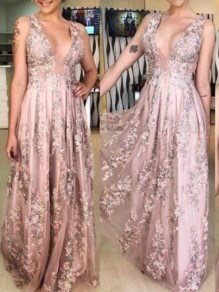 Pink Patchwork Lace Embroidery Spaghetti Straps Deep V-neck Party Maxi Dress