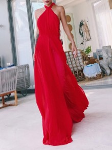 Red Draped Slit Halter Neck Backless Sleeveless Maxi Dresses