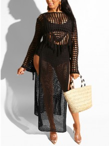 Black Crochet Cut Out Tassel Side Slits Two Piece Sheer Bohemian Beachwear Maxi Dress
