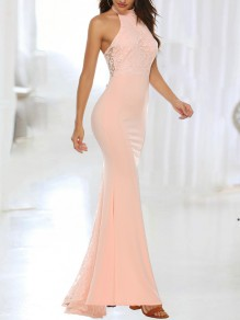 Pink Patchwork Lace Halter Neck Backless Bodycon Mermaid Prom Evening Party Maxi Dress