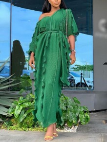 Green Ruffle Sashes One-Shoulder 3/4 Sleeve Flowy Banquet Party Maxi Dress