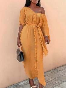 Champagne Ruffle Sashes One-Shoulder 3/4 Sleeve Flowy Banquet Party Maxi Dress