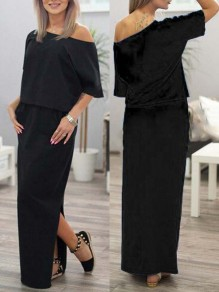 Black Draped Pockets Off Shoulder Short Sleeve Fashion Maxi Dresses