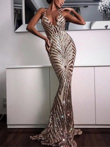 Apricot Striped Sequin Glitter Sparkly Backless Bodycon Mermaid Elegant Party Prom Maxi Dress
