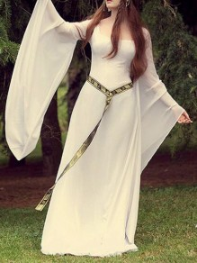 White Draped Square Neck Flare Sleeve Floor Length Flowy Restyle Witchcraft Gothic Maxi Dress