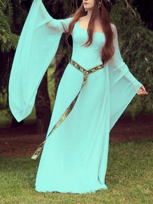 Tiffany Blue Square Neck Flare Sleeve Floor Length Flowy Restyle Witchcraft Gothic Maxi Dress