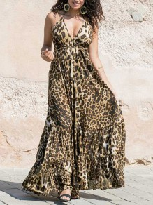Yellow Leopard Print Sleeveless V-neck Fashion Maxi Dress