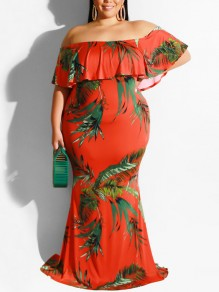 Red Willow Print Off Shoulder Ruffle Bodycon Mermaid Bohemian Party Maxi Dress