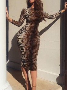 Brown Tiger Pattern Bodycon Round Neck Long Sleeve Party Maxi Dress