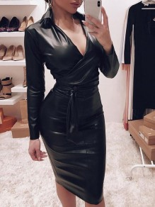 Black Belt Bodycon V-neck PU Leather Latex Patent Rubbe Party Maxi Dress