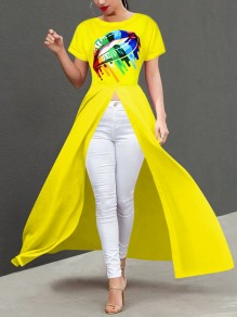 Yellow Rainbow Lips Irregular High-Low Casual Maxi Dress